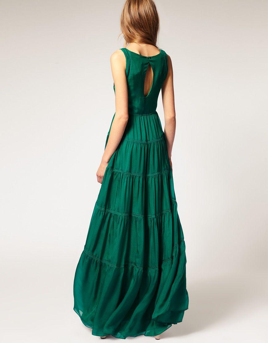 Emerald silk maxi dress