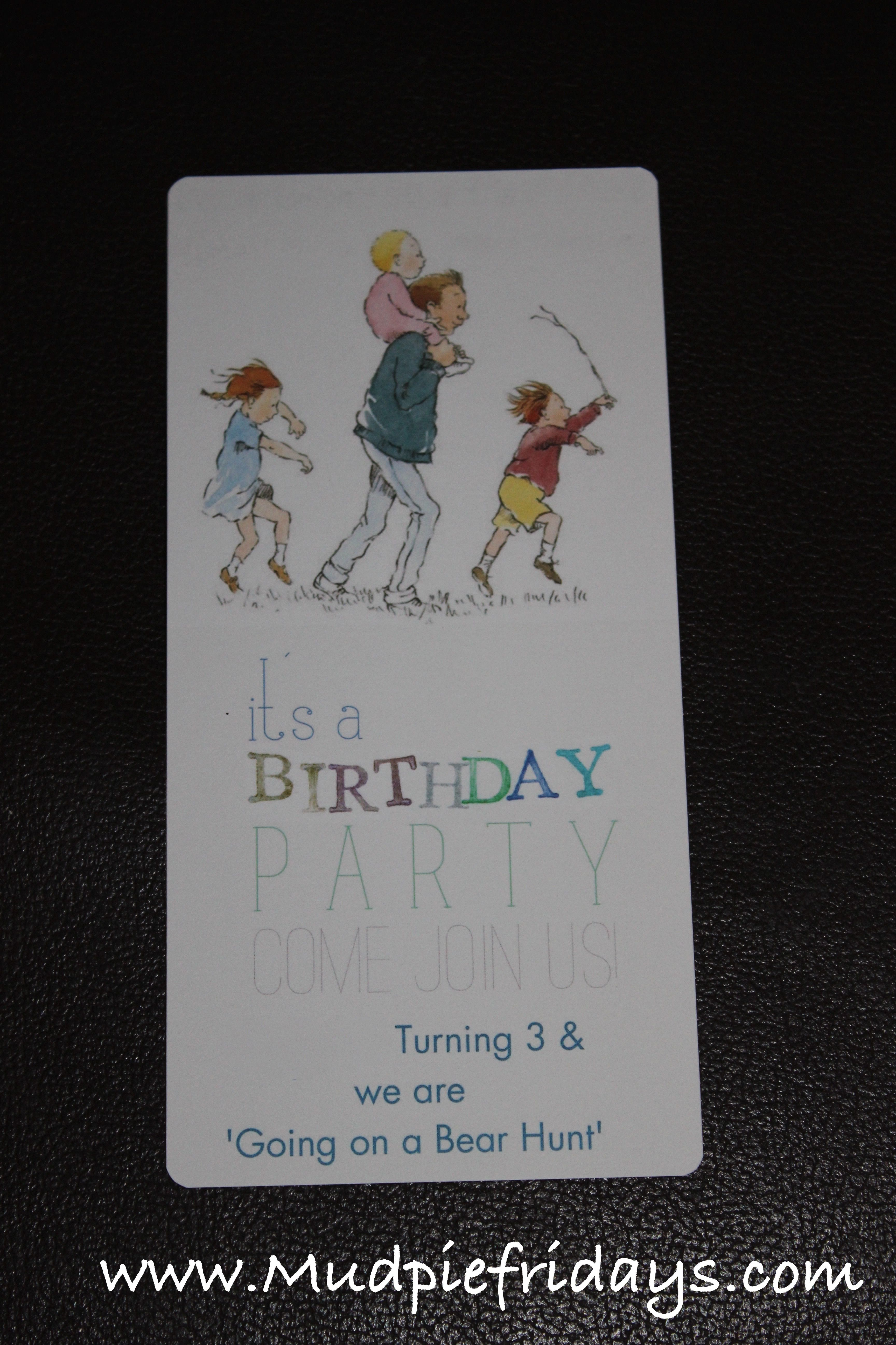 bday party invitation mail%0A Going on a Bear Hunt Birthday Party Invite