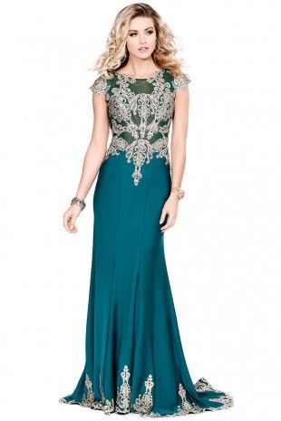 Forest Delectable Designer Gown With Sheer Shoulders 4049