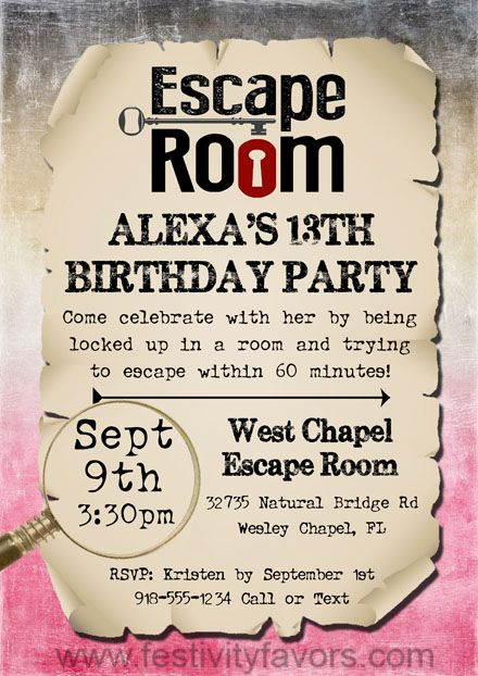 Escape room birthday party invitations each https for Escape room party
