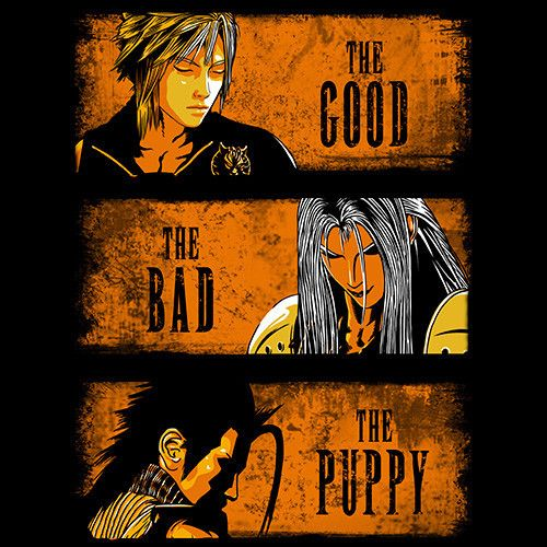 The Good, The Bad & The Puppy T-Shirt $12.99 Final Fantasy tee at Pop Up Tee!