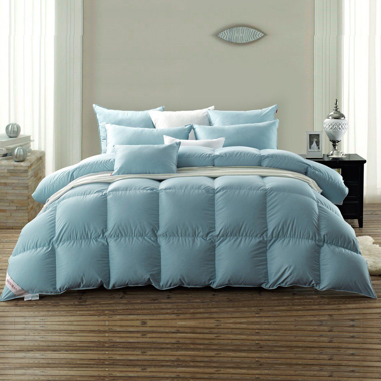 SNOWMAN Luxury White Goose Down Comforter Queen Size in