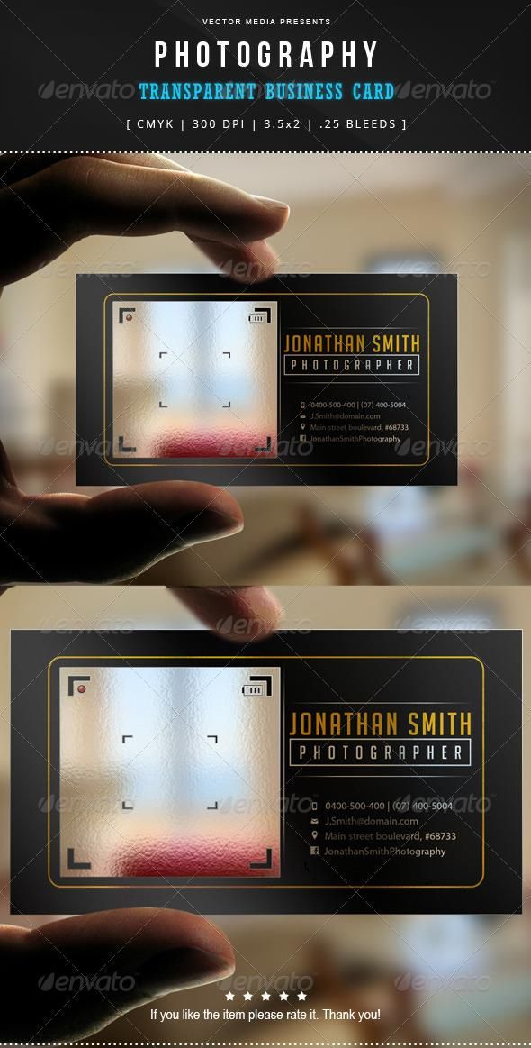 Photography - Transparent Business Card | Transparent business cards ...