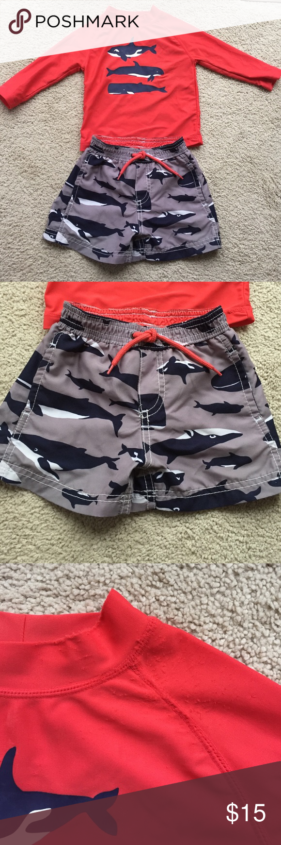 37140d8e22 Carter's Whale print swim trunks & rash guard Adorable two piece set  includes swim trunks