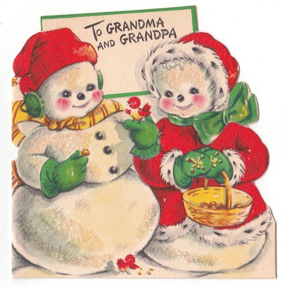 Vintage Greeting Card Christmas Cute Mr Snowman Glittered Die-Cut ...