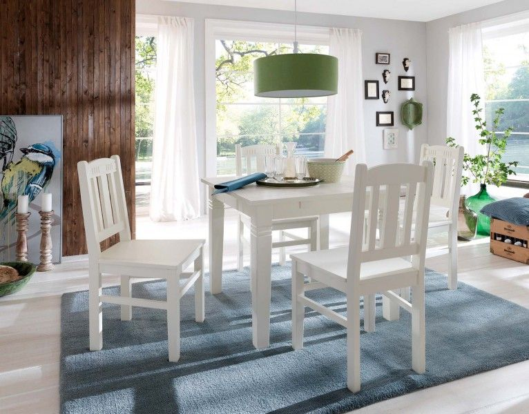 #Essgruppe 90x90 Capri - #Esstisch & 4 #Stühle - Pinie massiv - cremeweiß lackiert