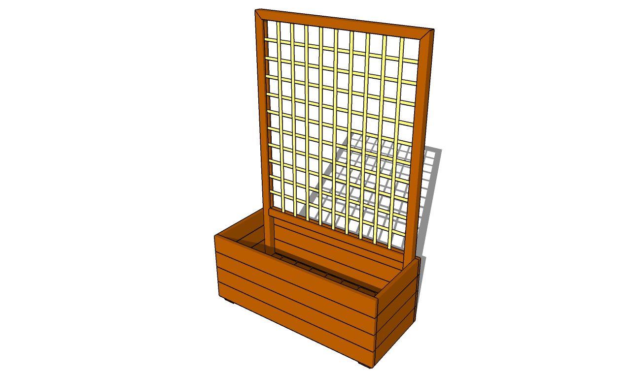 How to make a flower box Planter box with trellis, Diy