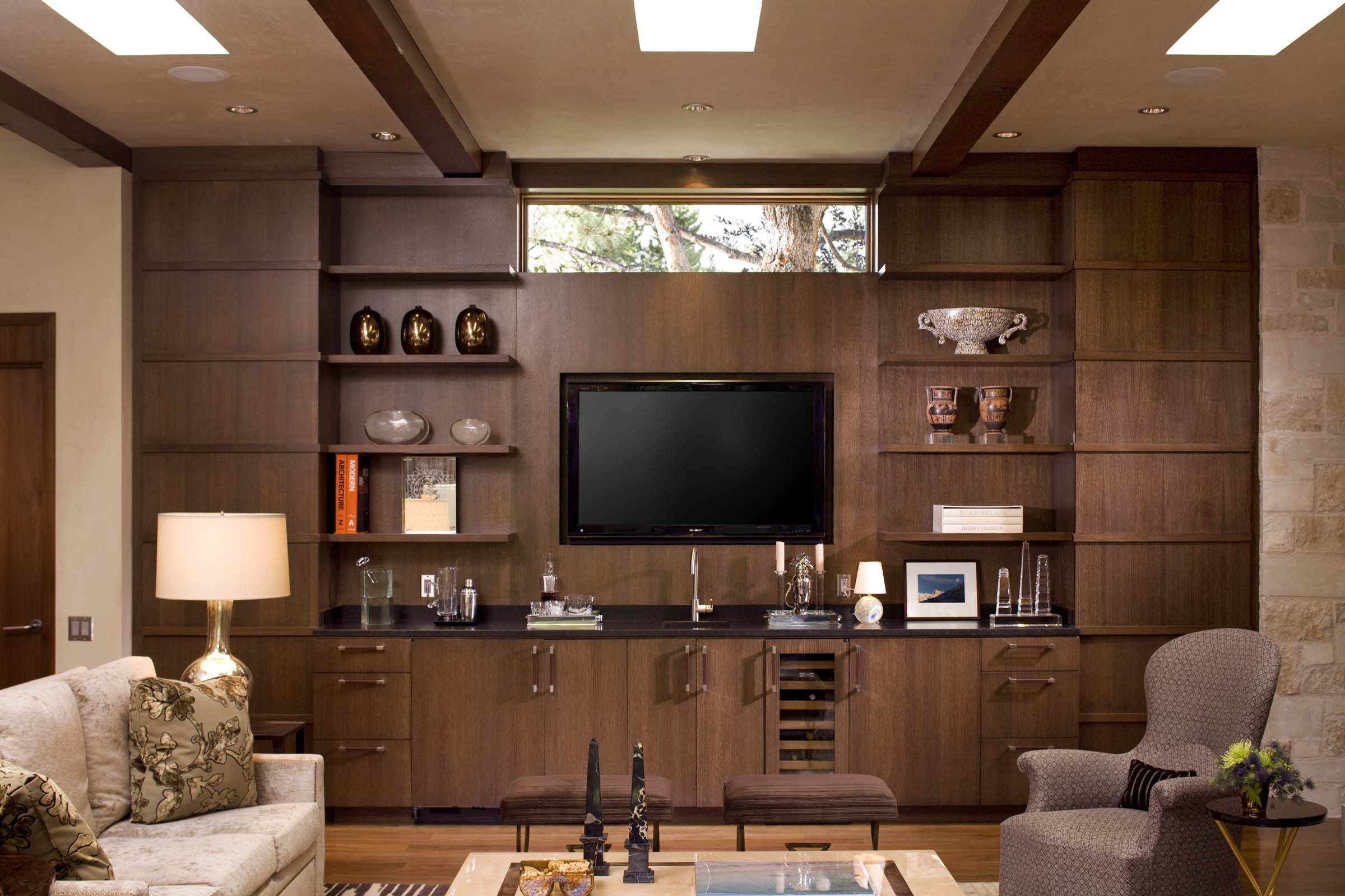 Interesting Home Interior Wall Unit only best 25 ideas about tv wall design on pinterest tv on wall ideas living room contemporary indoor furniture and interior stone walls Cute Contemporary Ranch House Remodel Contemporary Living Room Interior With Beautiful Wood Brown Tv Wall Unit