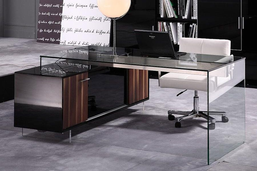 Abingdon Executive Desk - Black/Glass/Walnut - $2052 ...