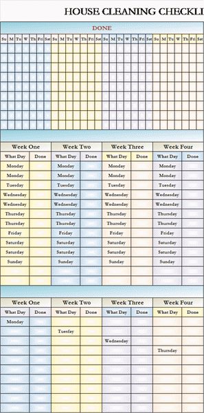cool cleaning schedule template