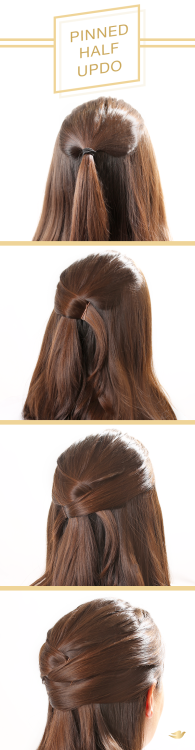 To get this beautiful pinned half updo, follow this step-by-step hair tutorial. Its a pretty style to wear to your next holiday party if you have long to medium length hair.