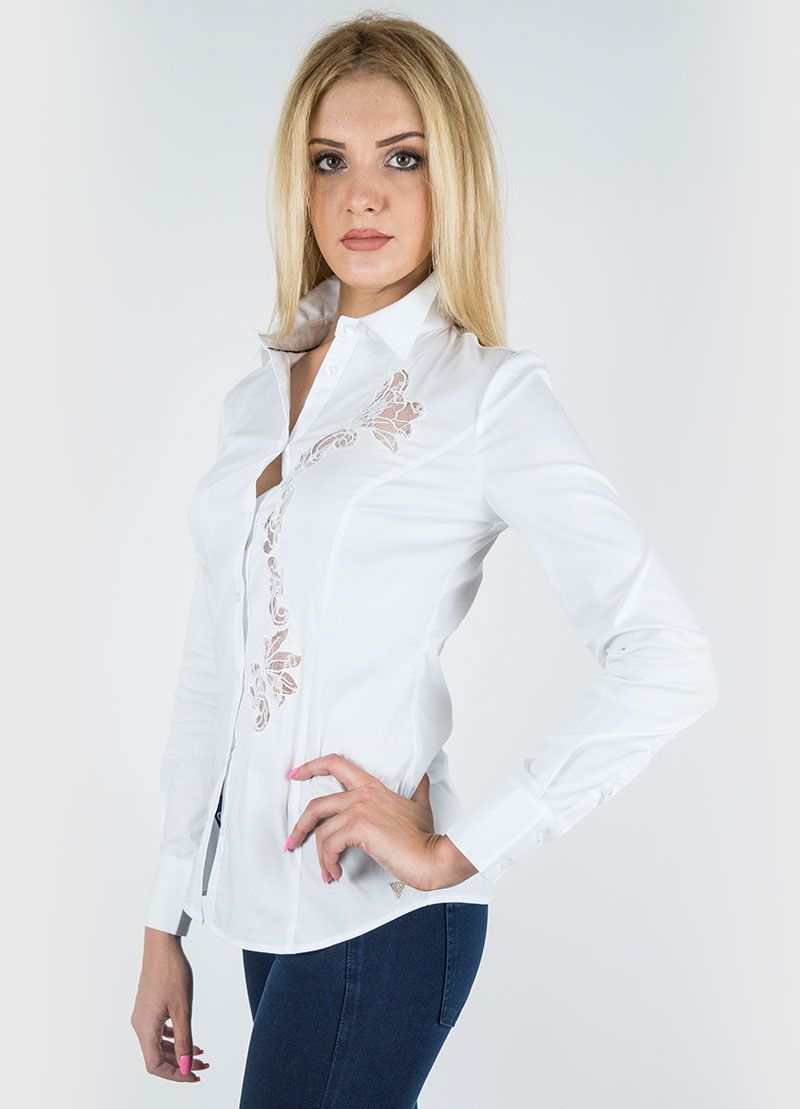 Colore:Bianca Camicia cotone stetch manica lunga.
