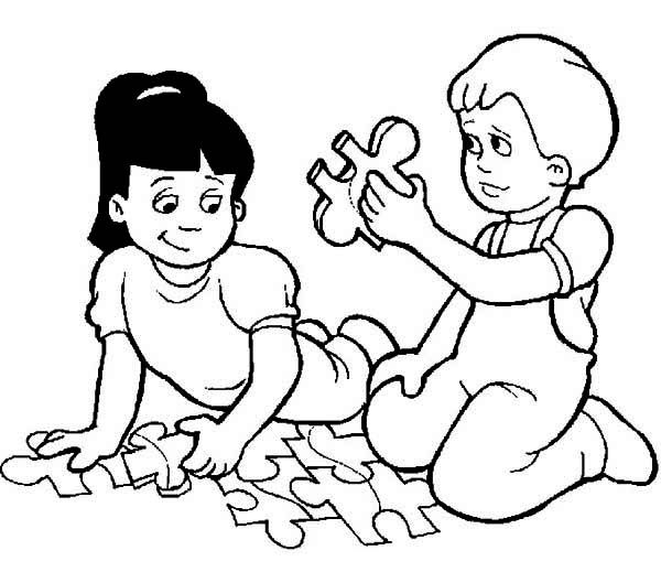 Two Kids Playing Puzzle While Waiting to Go Back to School ...