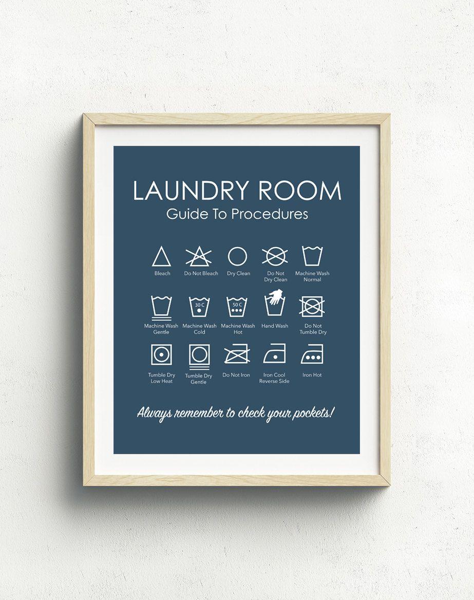 Laundry symbols print laundry room art laundry instructions laundry symbols art print can be colour matched to suit your decor buycottarizona Images