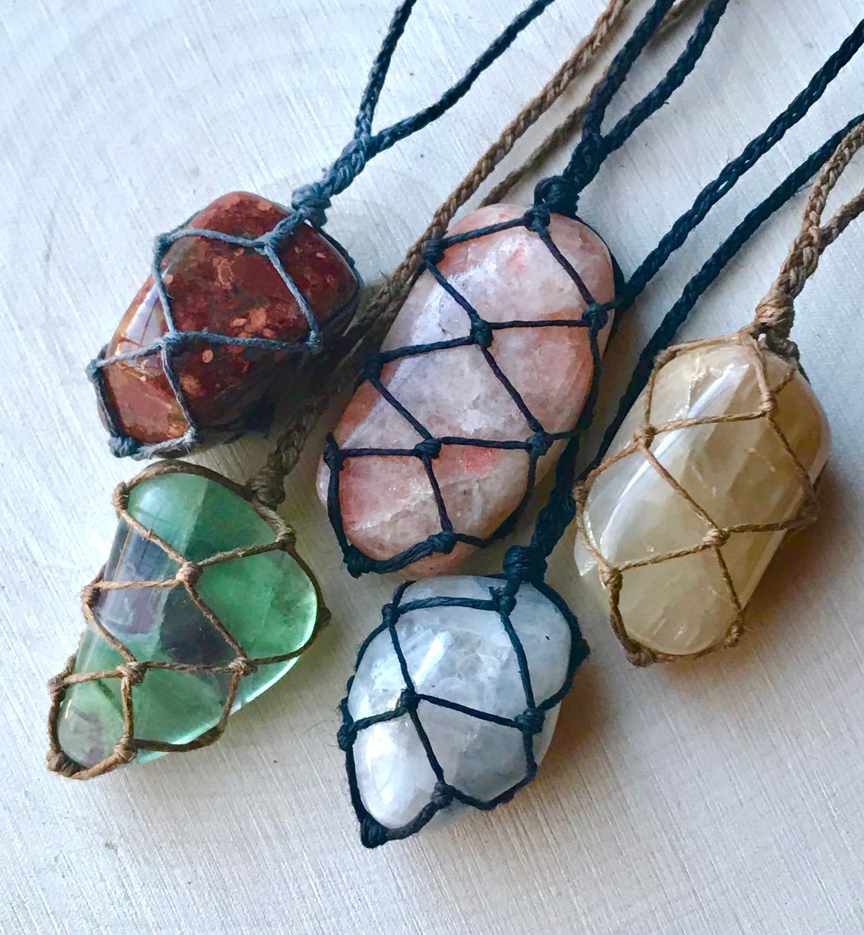 boho necklace crystal healing best friend gift CARIBBEAN CALCITE macrame handmade necklace crystal necklace