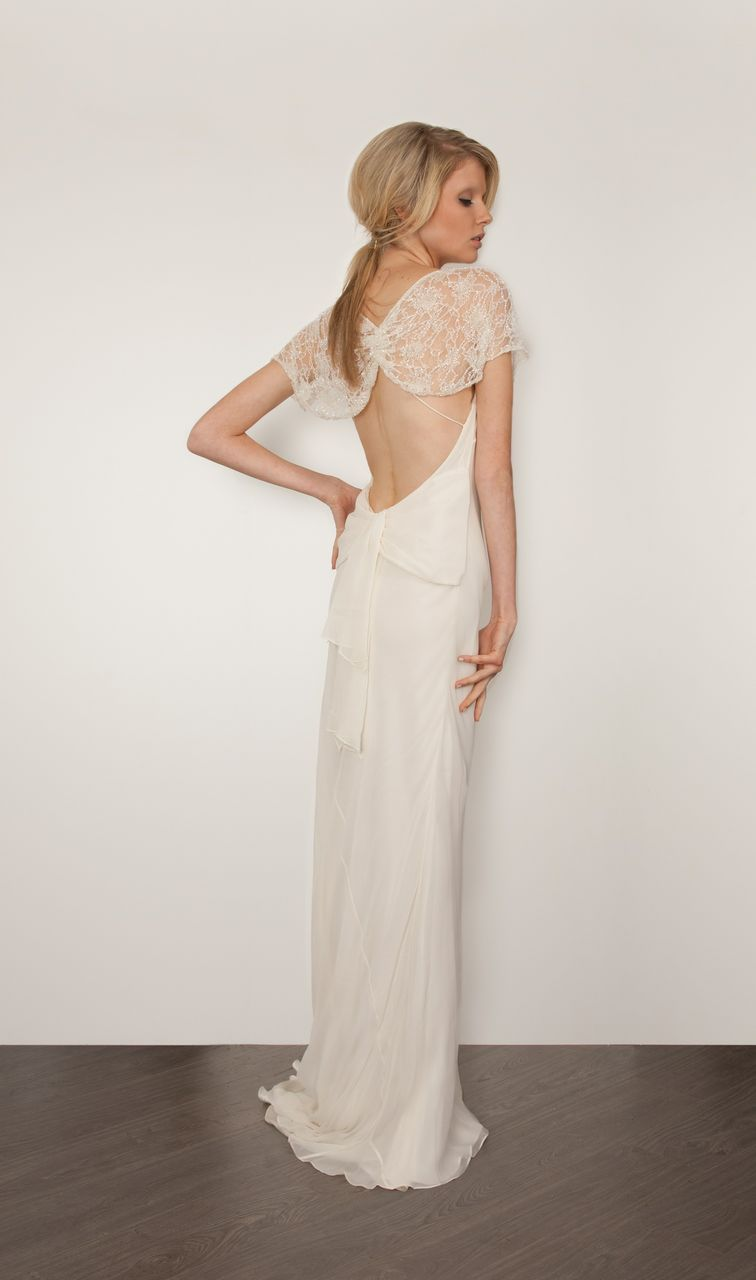 Great gatsby inspired wedding dresses  Dramatic back sleek silhouettea wedding gown made for a modern
