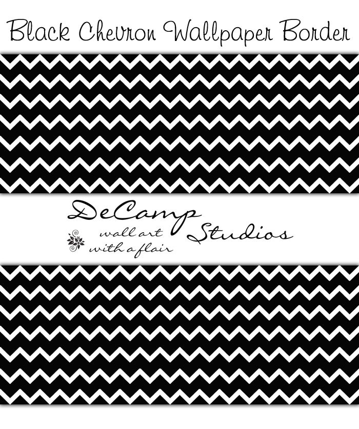 Black and White Chevron Wallpaper Border Wall Decals for
