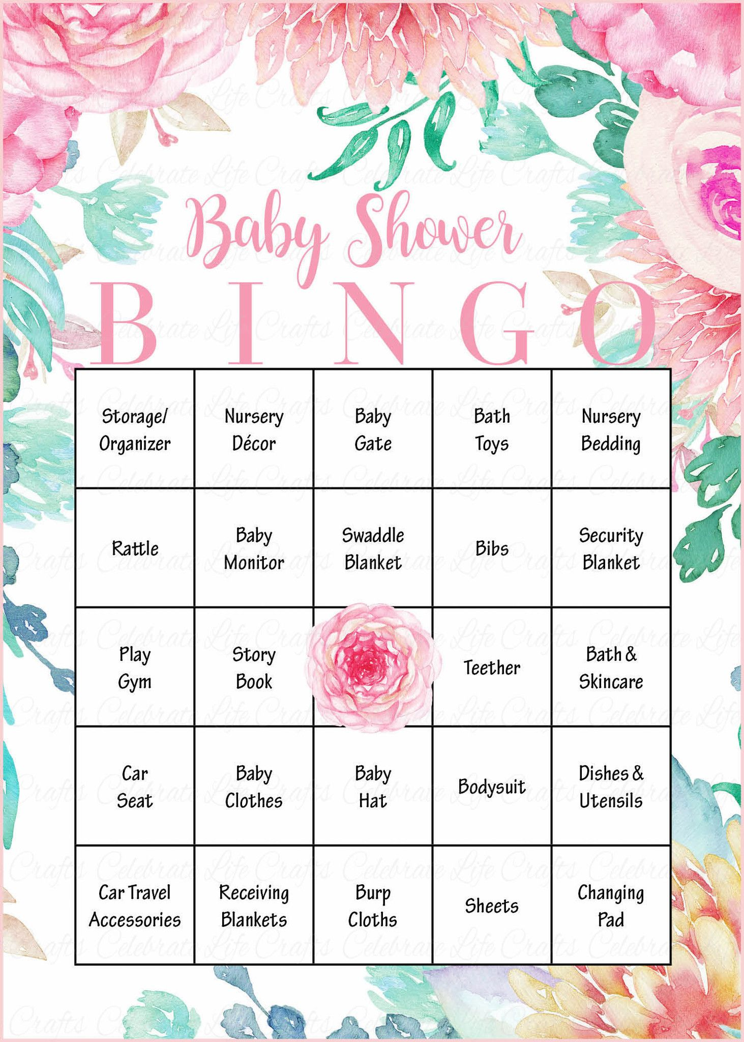 Floral Baby Bingo Cards Printable Download Prefilled Spring Baby Shower Game For Girl Pink Floral B33001 Bridal Bingo Bridal Shower Bingo Floral Bridal Shower