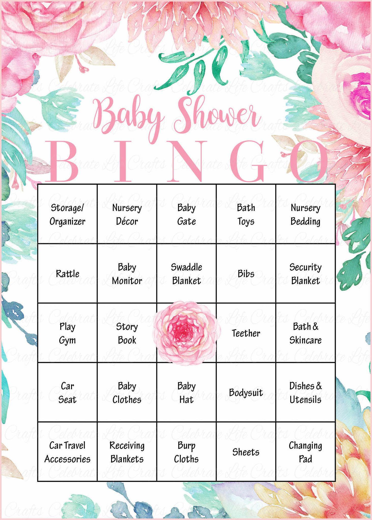 Floral Baby Bingo Cards