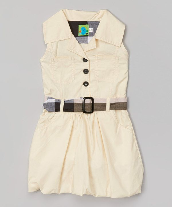Cream Belted Dress - Infant, Toddler