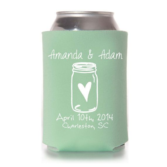 Personalized Mason Jar Wedding Can Coolers Rustic Wedding Etsy Personalized Mason Jar Wedding Favors Southern Wedding Koozies Mason Jar Wedding Favors