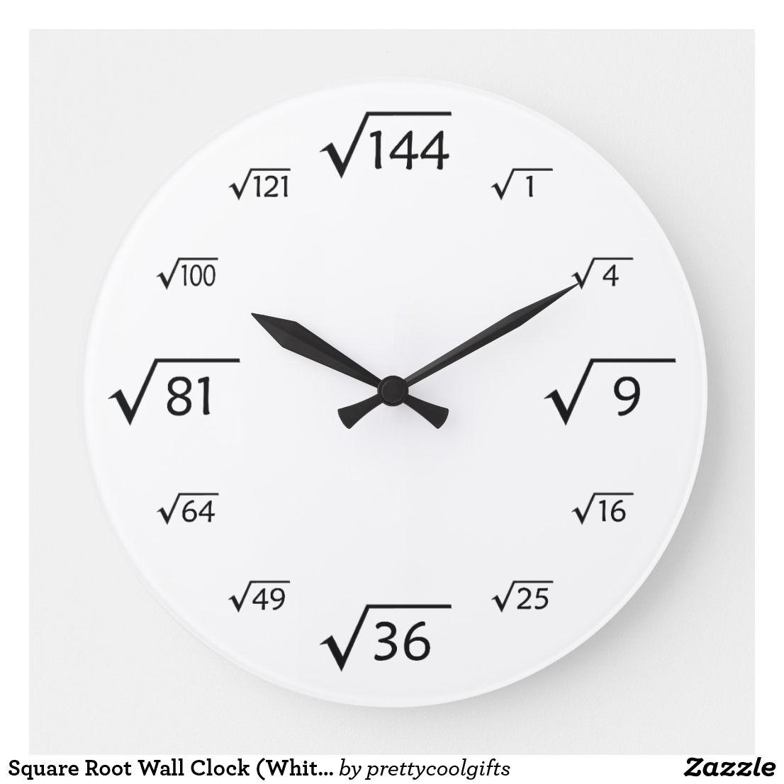 Square Root Wall Clock White Black Zazzle Com In 2021 Wall Clock Clock Square Roots [ 1106 x 1106 Pixel ]