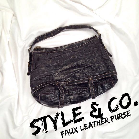 STYLE & CO. Black Faux Leather Purse This is a super fun and roomy over-the-shoulder bag with great strap/buckle and bronze-colored grommet detailing. Small mark inside interior zipper pocket (pic). Measurements pictured. Make an offer! Style & Co Bags Shoulder Bags
