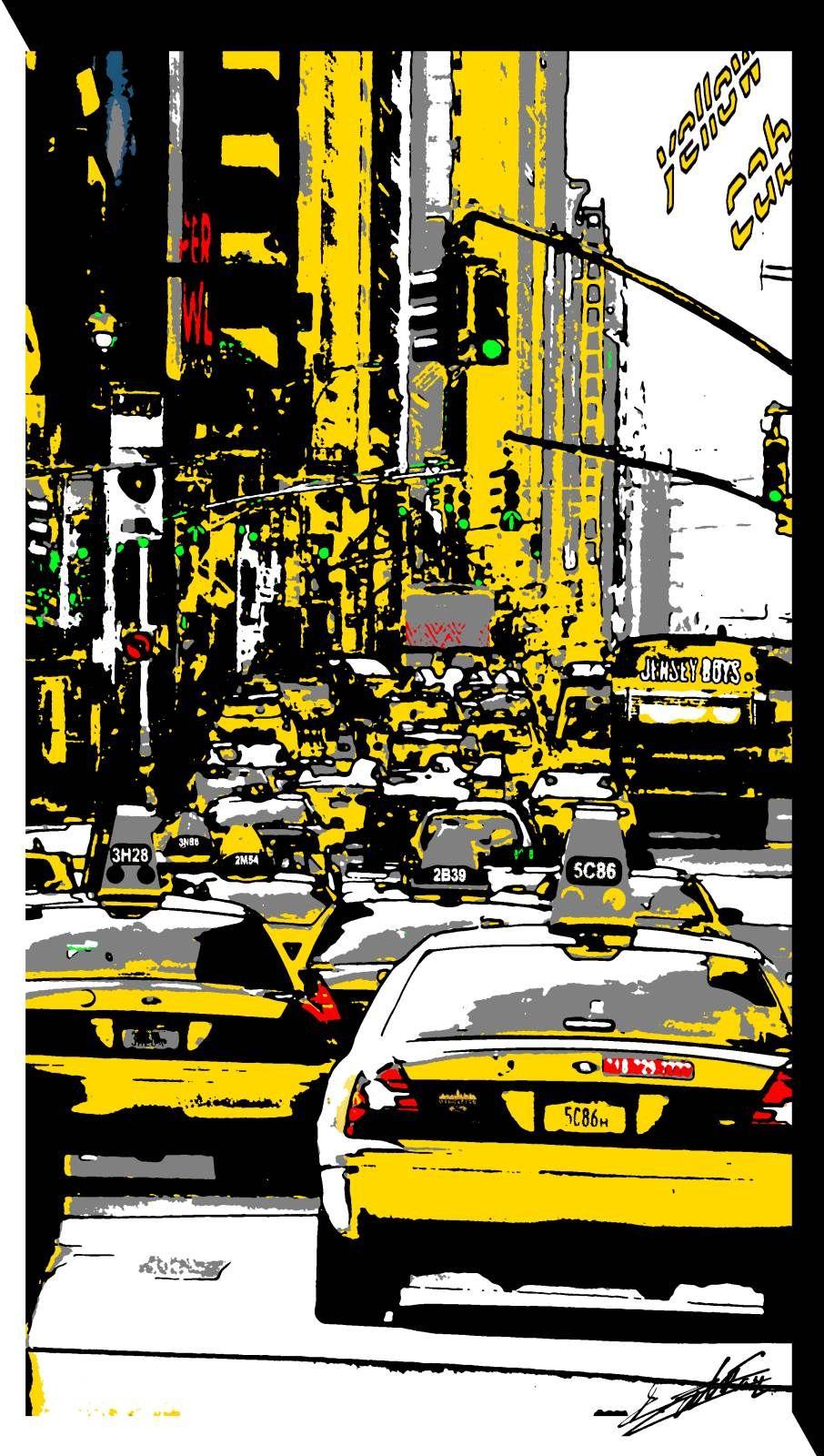 tableau peinture new york taxi jaune pop art noir blanc acrylique embouteillage feux. Black Bedroom Furniture Sets. Home Design Ideas