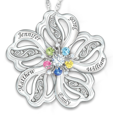 51b8f61f303435 Flower Shaped Mothers Necklace with up to 5 Kids Names and Birthstones -  $119
