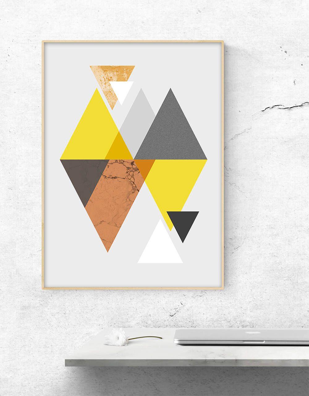 Yellow And Orange Triangle Print Geometric Scandinavian Wall Art Print A3 A4 Minimalist Modern Mid Century Graphic Poster Scandinavian Wall Art Graphic Poster Triangle Print