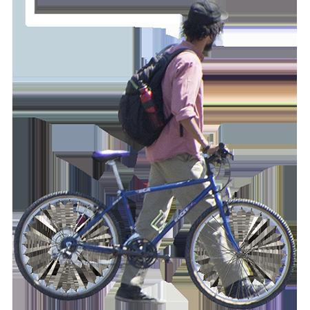 Man Walks Bike Across Street People Cutout Architecture People Human Sketch