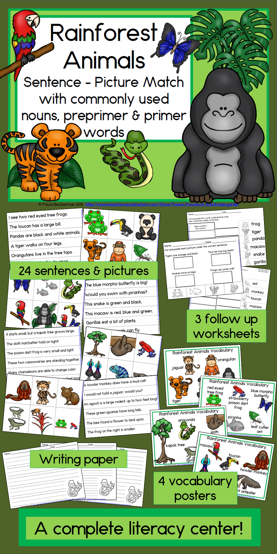 Students will be engaged in reading sight words with Rainforest Animals Sentence Picture Match. There are 24 sentences and pictures to match! This packet has everything you need for a complete literacy center, including 4 vocabulary posters, 3 follow up worksheets, a leveled list of words used, and directions. Easy to prepare and use, your students will love Rainforest Animals! TpT $