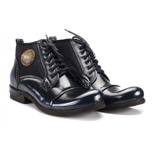 db755202380 Kotníkové tmavě modré kožené boty COMODO E SANO - manozo.cz