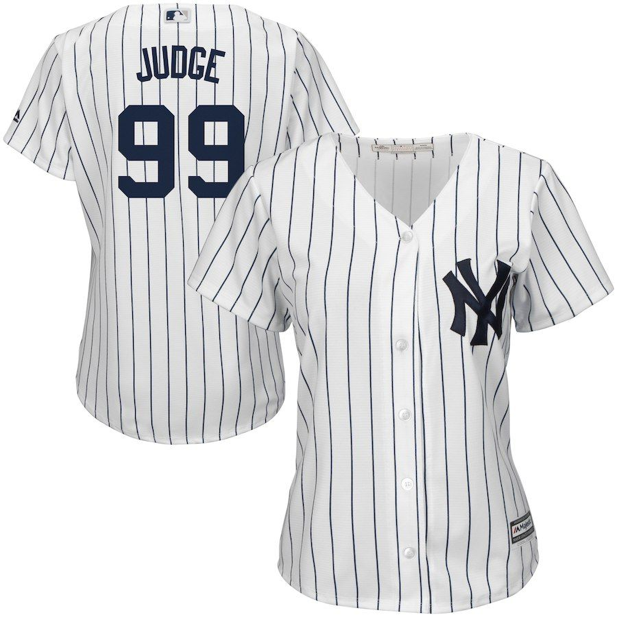 0c16f4c37e1 Women s New York Yankees Aaron Judge Majestic Home White Cool Base Player  Jersey