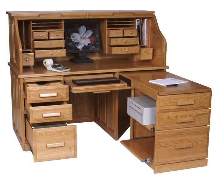 Amish Computer Roll Top Desk With Pull Out Return Woodworking