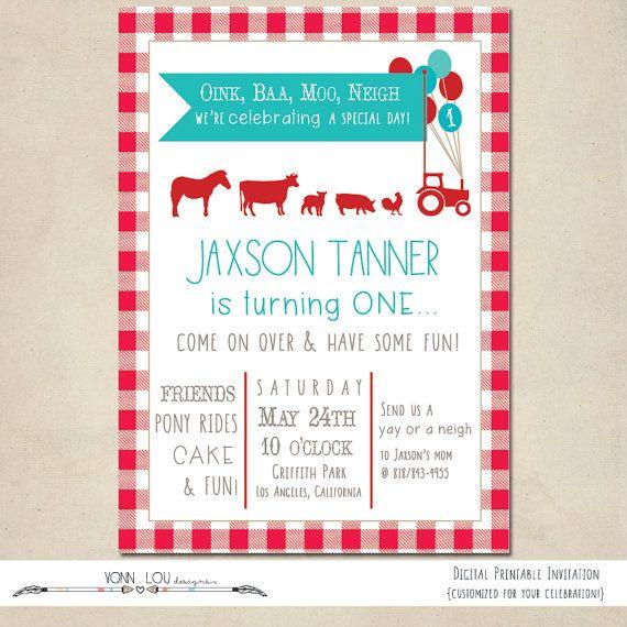 Farm Invitation Modern Simple Kids Birthday By Vonnloudesigns 15 00 Farm Party Invitations Farm Invitation