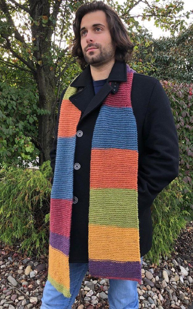 Mans Scarf In Plymouth Yarn Free Knitting Pattern For Beginners