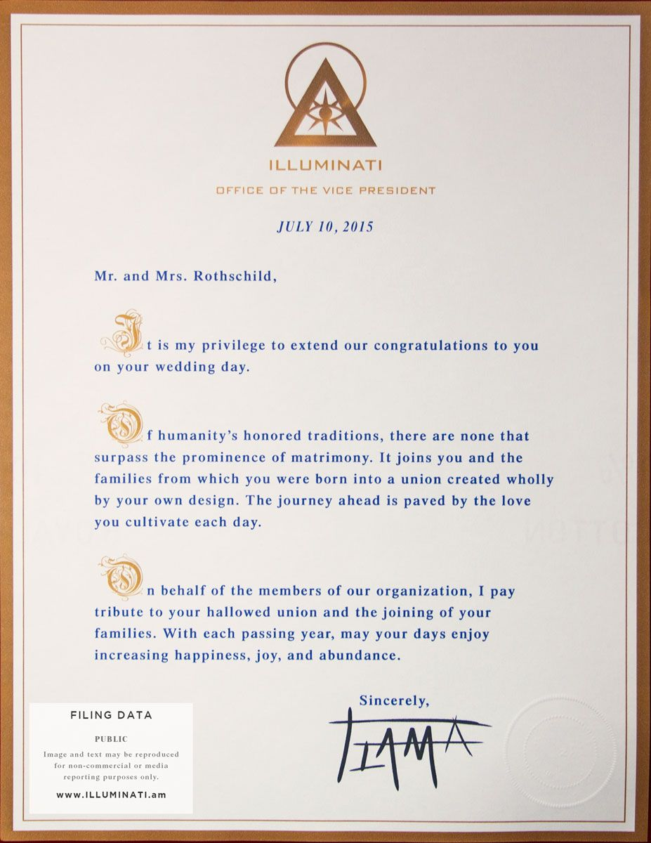 Rothschild Hilton Wedding Letter Of Congratulations From The
