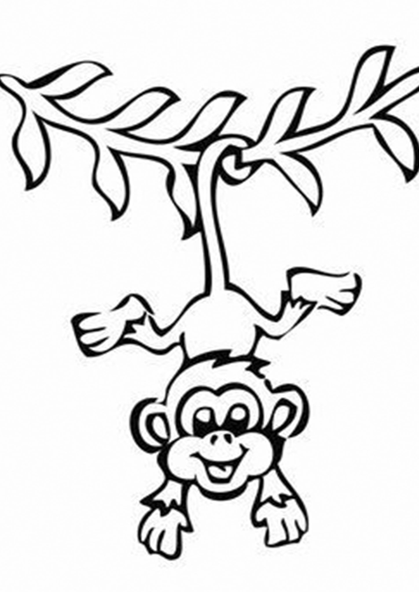 Wikeyezhuka Com Monkey Coloring Pages Easy Animal Drawings Monkey Drawing Cute