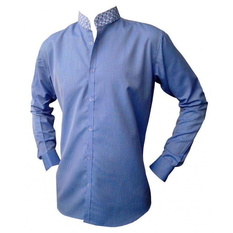 1c5dc8f138b9 Chemise homme cintrée col mao. Chemise manches longues bleue en coton avec  une finition coton