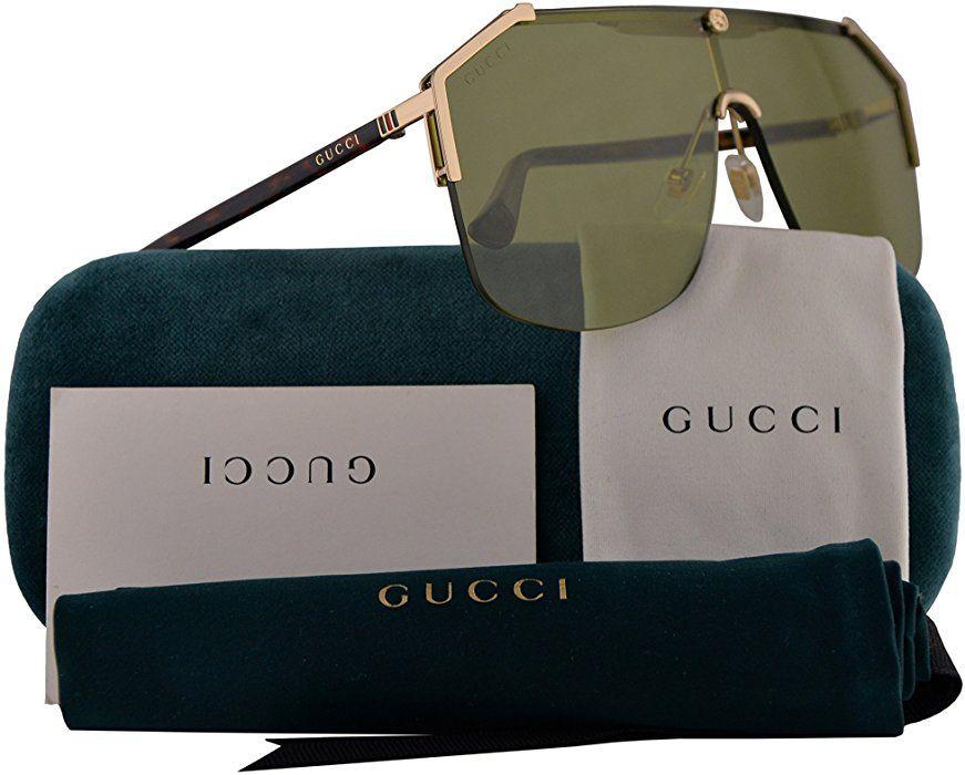 7d57641939 Amazon.com  Gucci GG0291S Sunglasses Gold Havana w Green Lens 99mm 004  GG0291 S GG 0291 S GG 0291S  Clothing