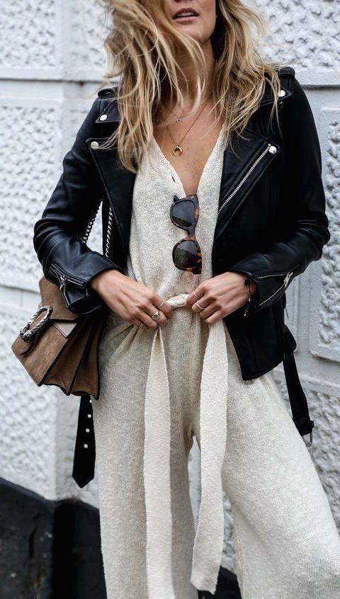 #fall #fashion / leather jacket + jumpsuit
