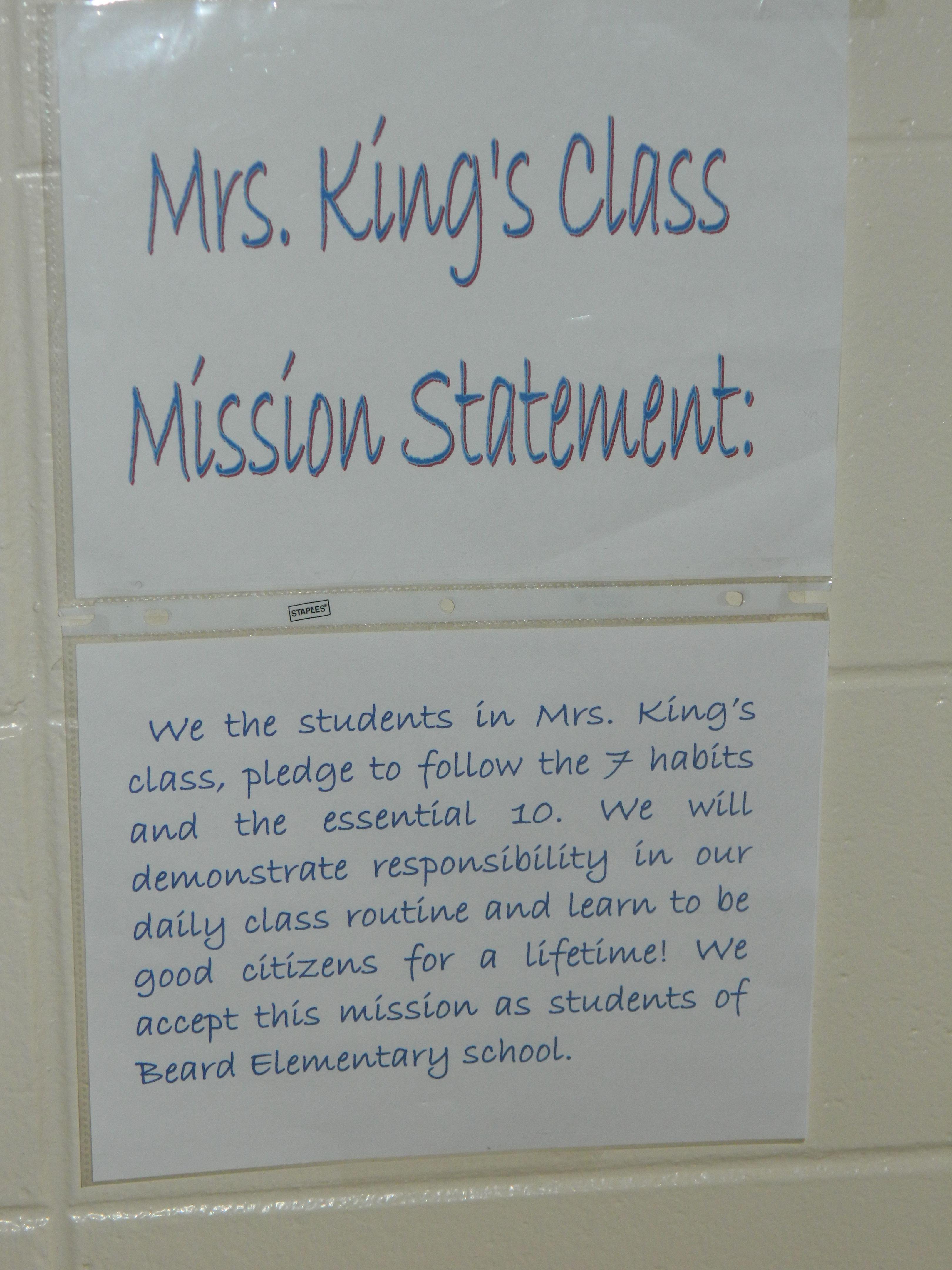 A Kindergarten Class Mission Statement At Beard Elementary