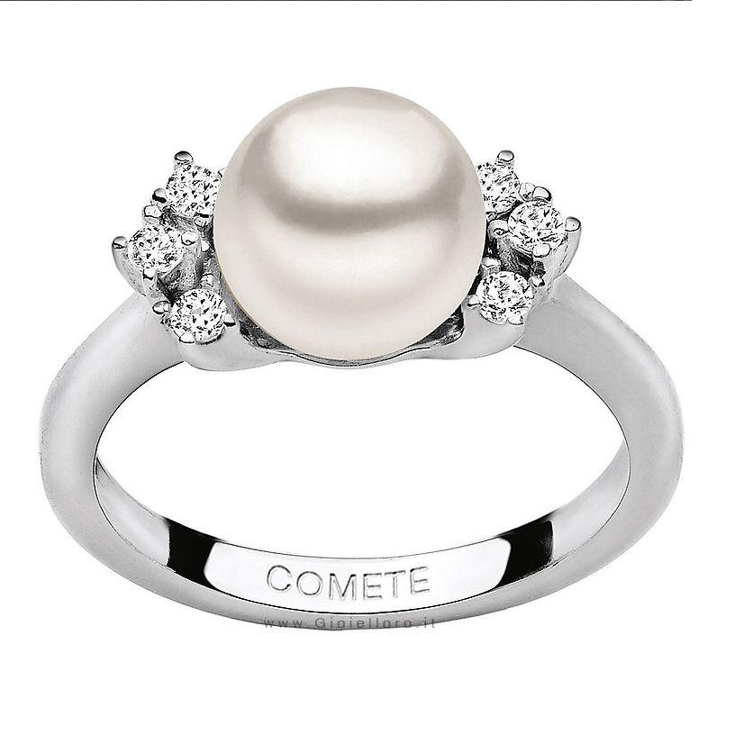 Anello Comete Gioielli LE PERLE Con Diamanti E Perla