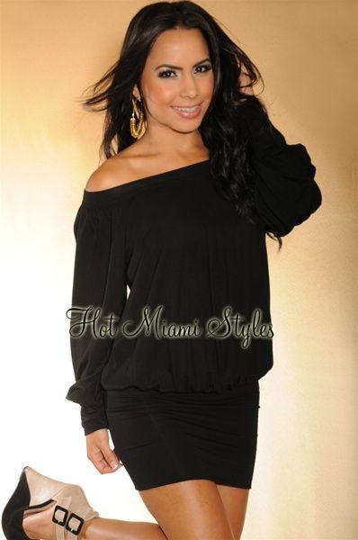683f0226279d4f Black On Off Shoulder Tunic Top Mini Dress