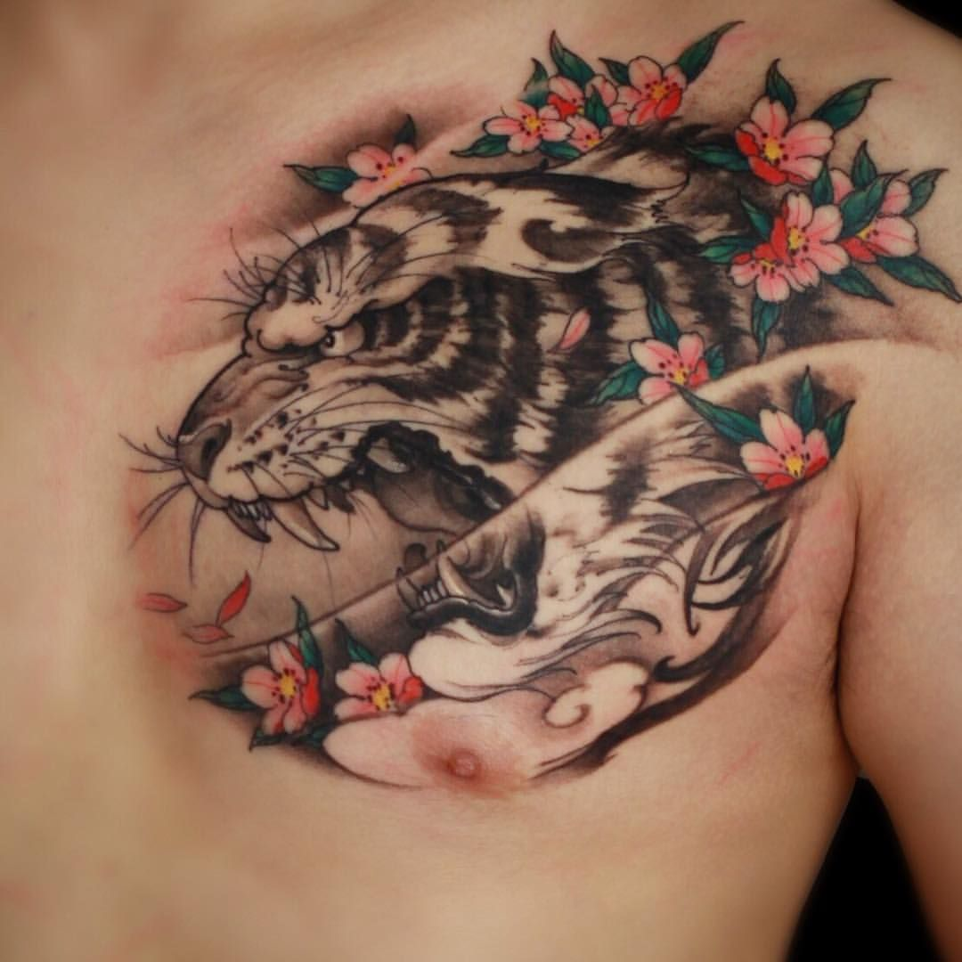 43++ Awesome Tiger tattoo chest piece image ideas