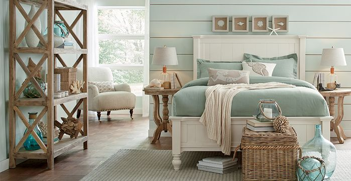 Coastal Bedroom Photo By Birch Lane Master Bed And Bath