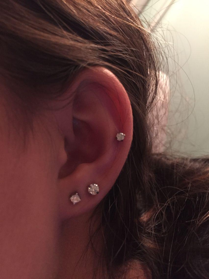 mid cartilage & double lobe | ear piercings | Pinterest ... Ear Piercings Pinterest