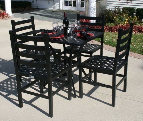 The Ansley Collection 4 Person All Welded Cast Aluminum Patio Furniture Dining Set With Patio Furniture Dining Set Square Patio Table Aluminum Patio Furniture