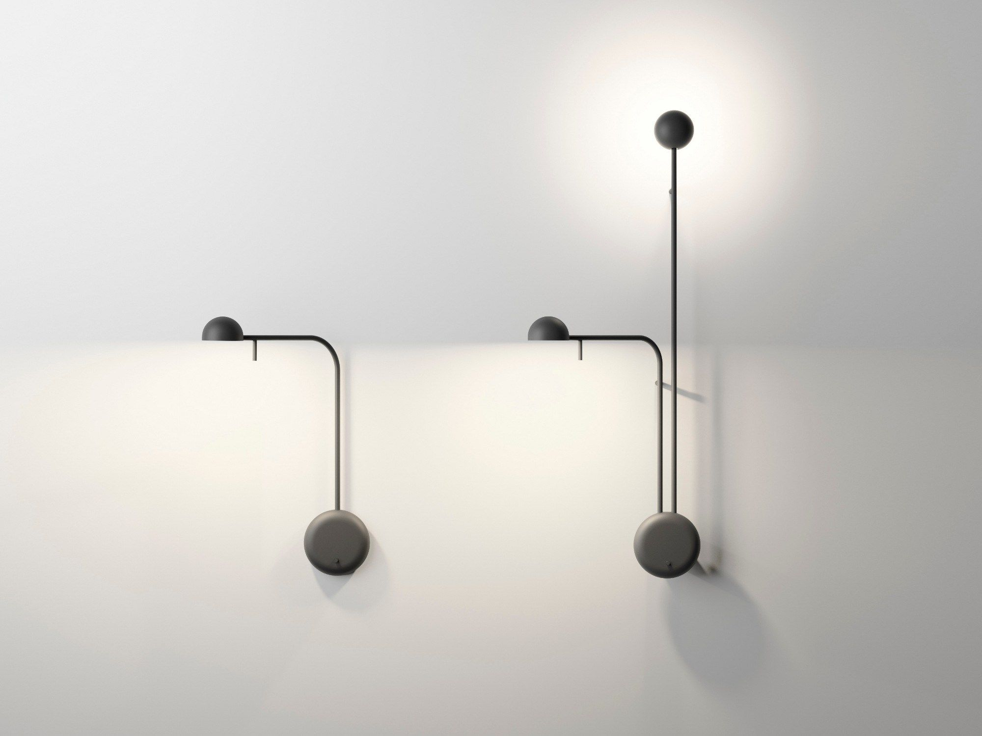 Lampada da parete a led orientabile collezione pin by vibia design